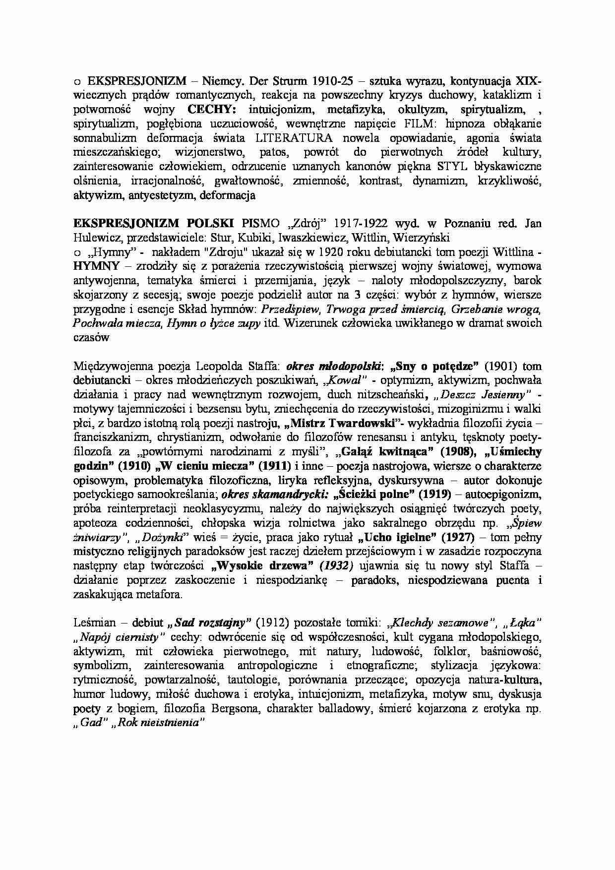 Ekspresjonizm Ekspresjonizm Polski Poezja Staffa I