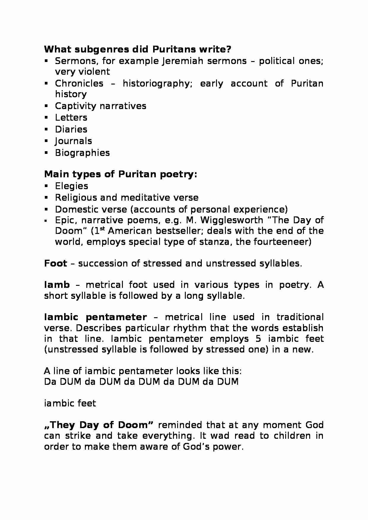 What subgenres did Puritans write-opracowanie - strona 1
