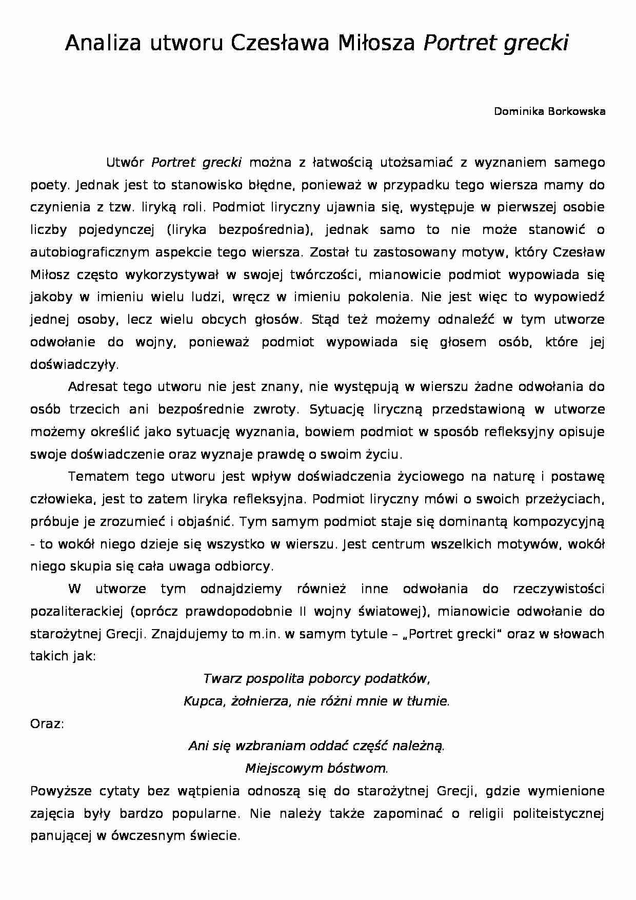 Analiza Wiersza Czesława Miłosza Portret Grecki Referat