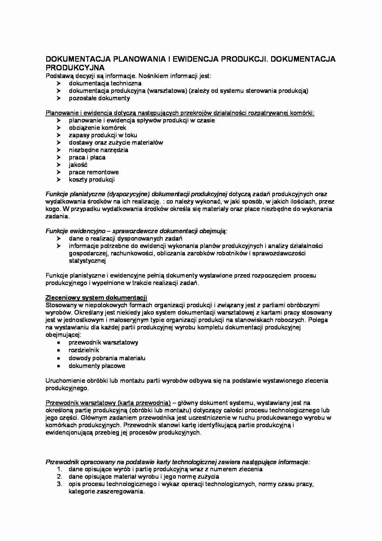 Dokumentacja Planowania I Ewidencja Produkcji Opracowanie Notatek Pl