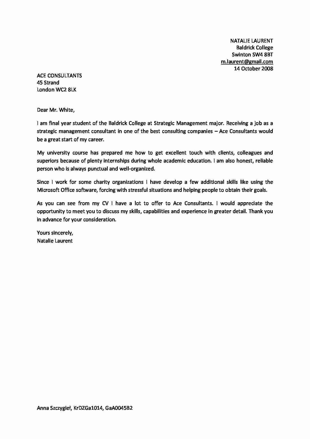 Cover Letter Angielski B2 Notatek Pl