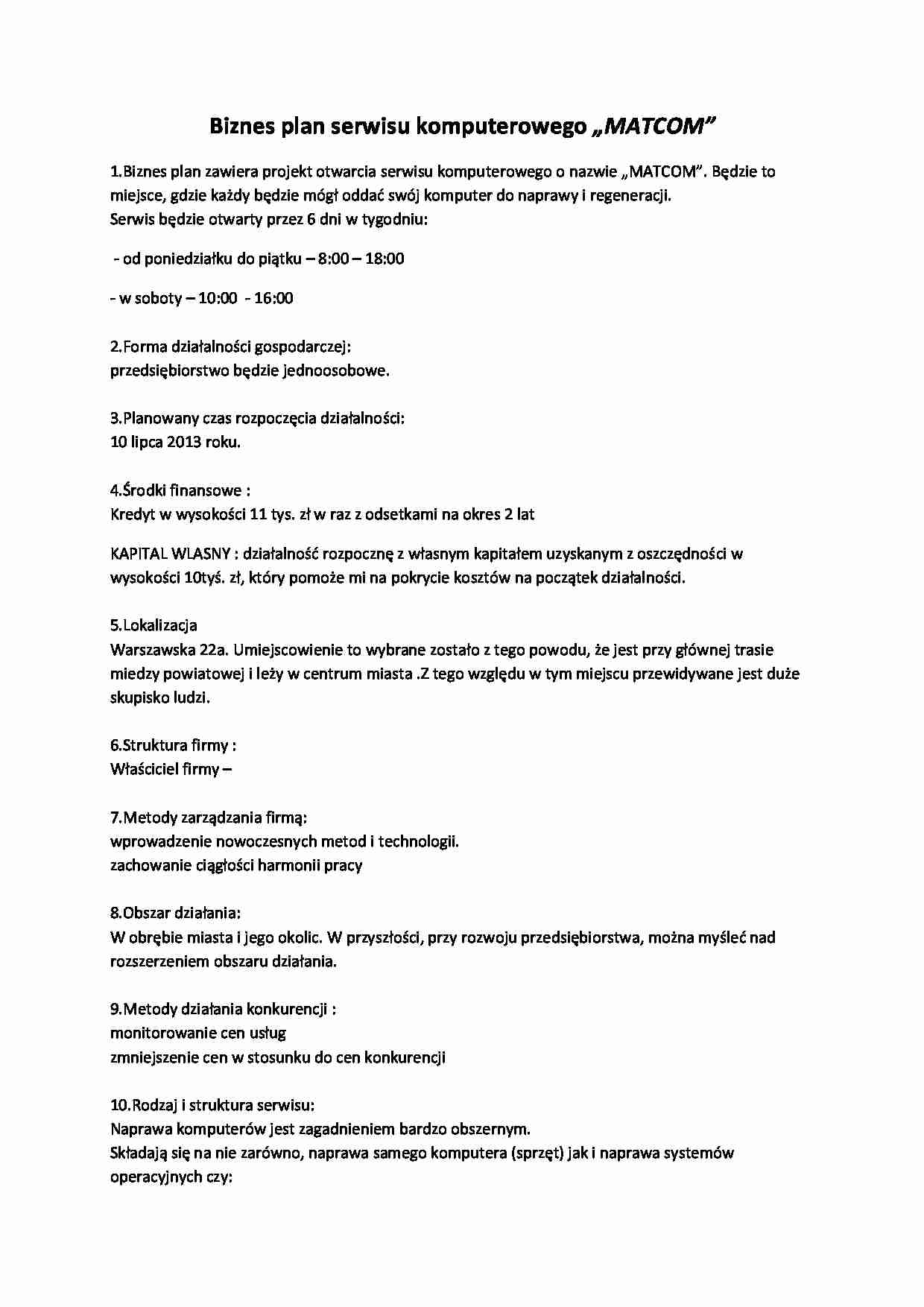 biznes plan serwisu komputerowego  u201ematcom u201d
