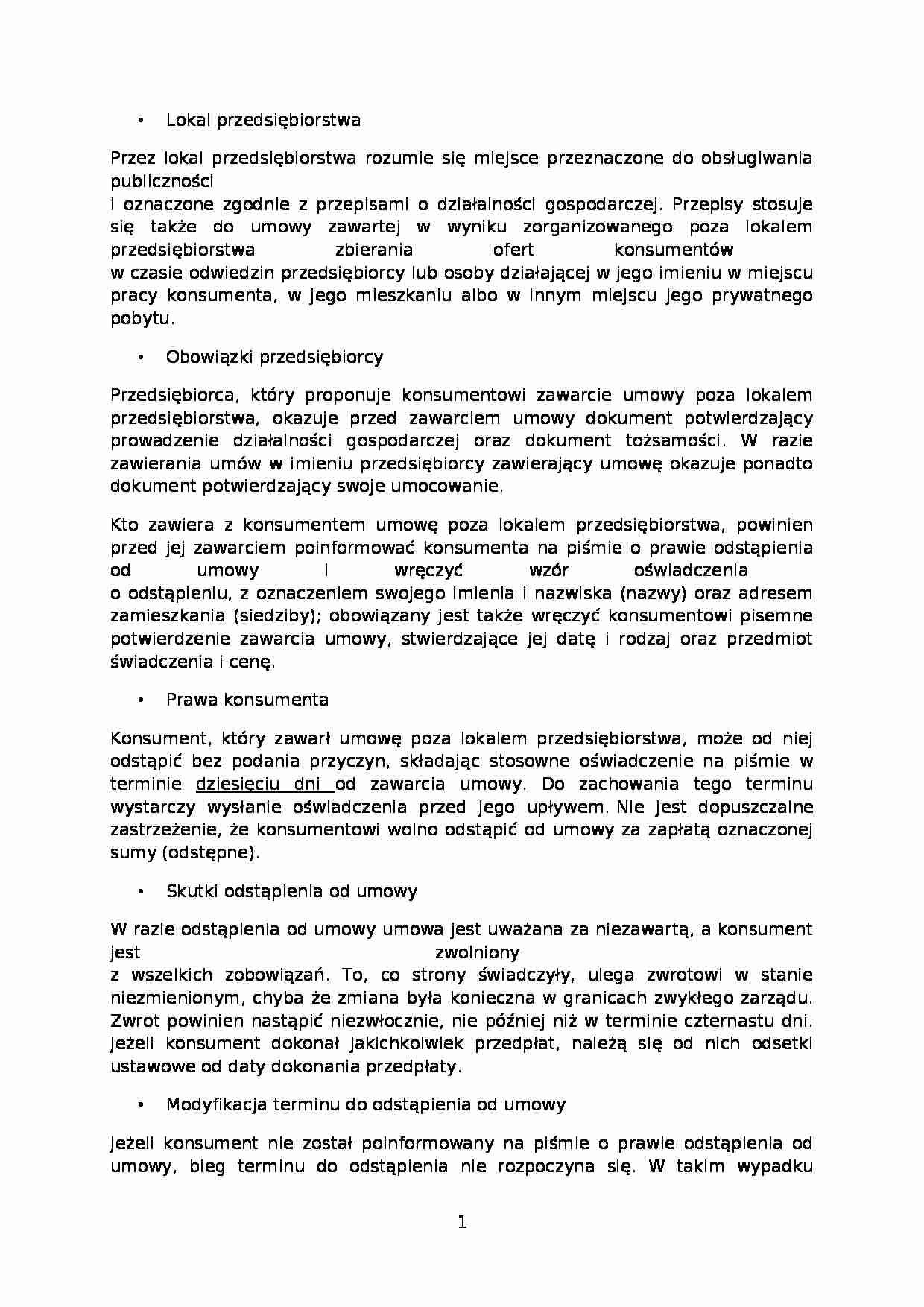 823e7d65489c10 Podgląd dokumentu Umowy zawierane poza lokalem i na odległość - strona 1 ...