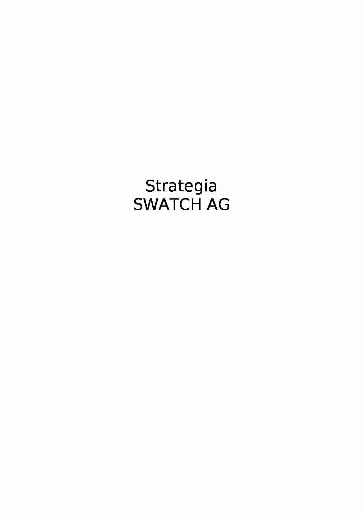 Strategia SWATCH AG - projekt - strona 1