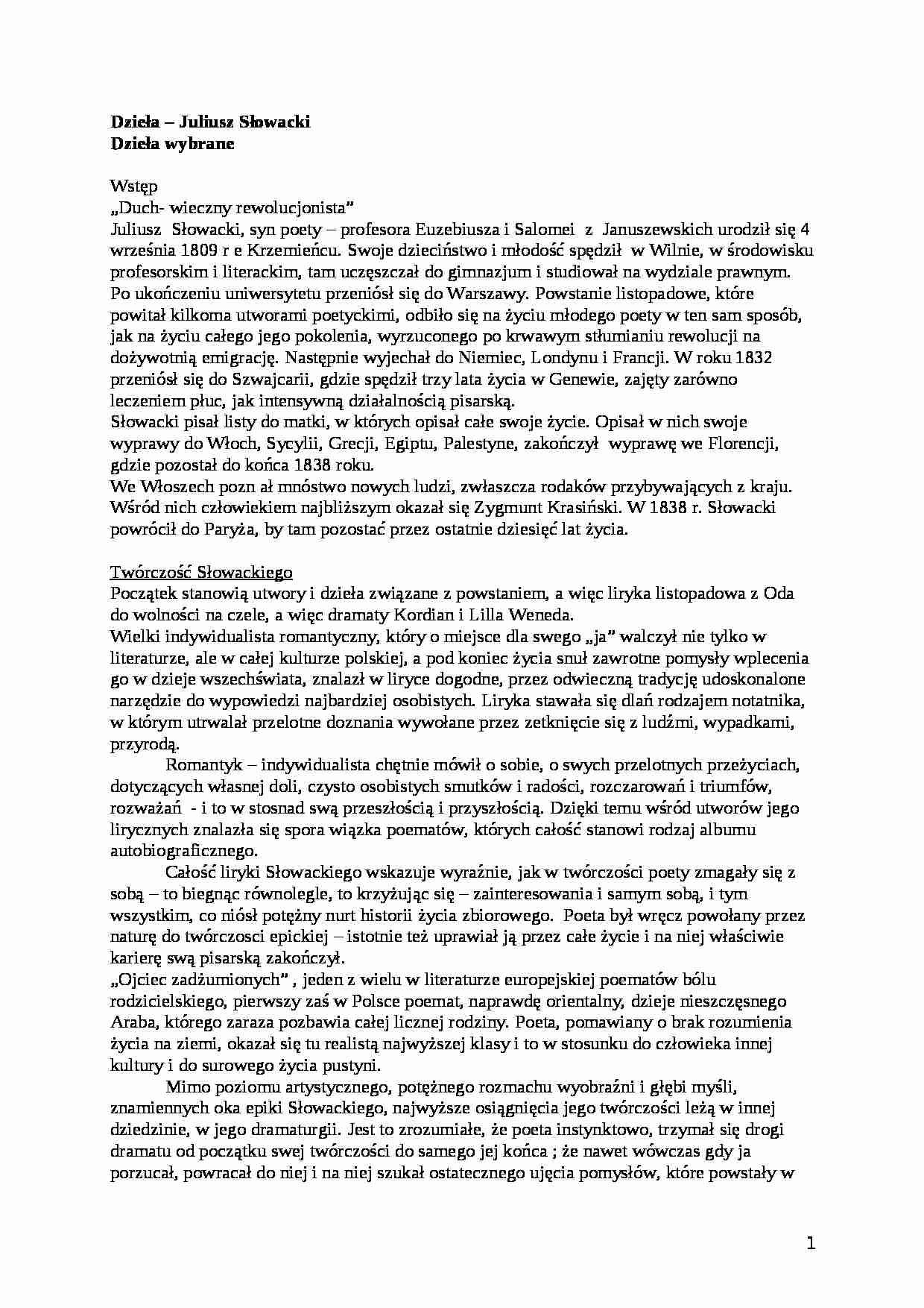 Słowacki Liryka I Inne Wiersze Notatekpl