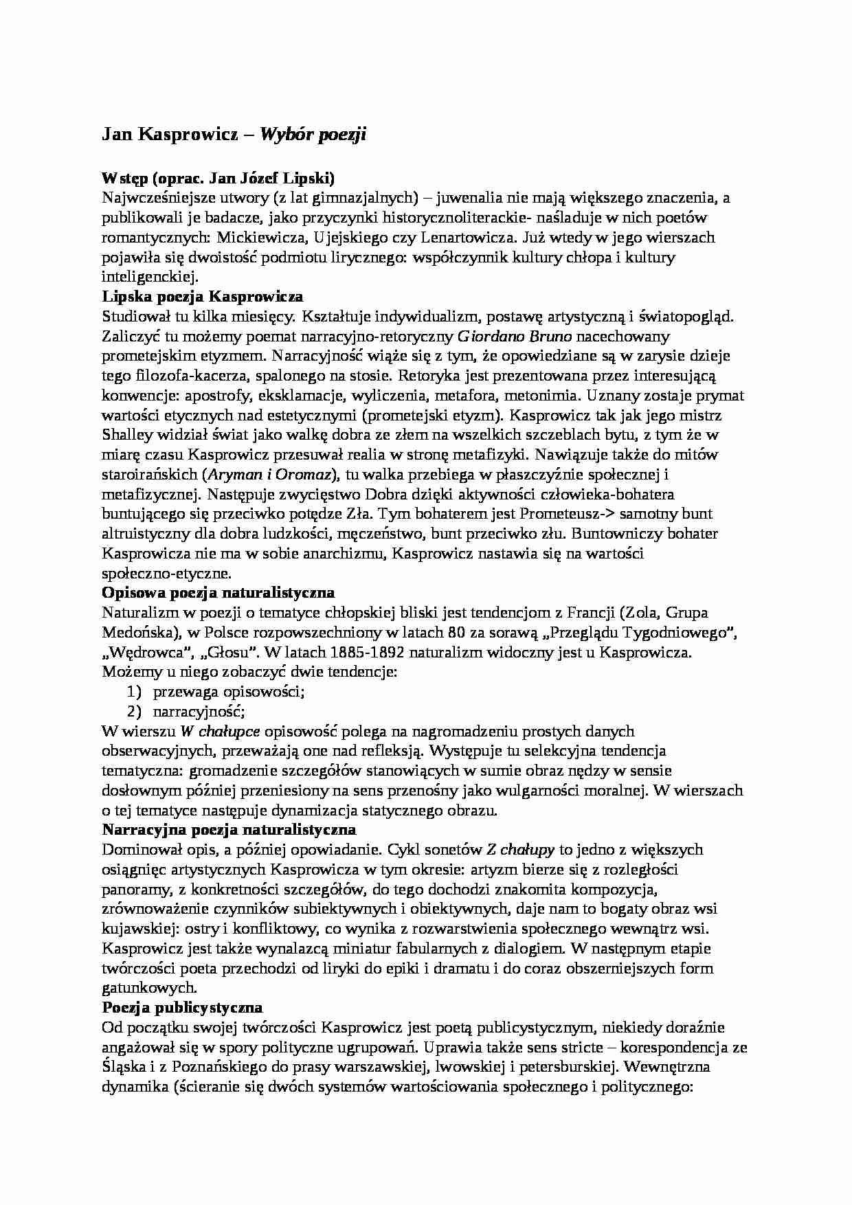 Poezja Jana Kasprowicza Notatekpl