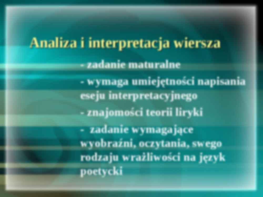 Analiza I Interpretacja Wiersza Etapy Notatekpl