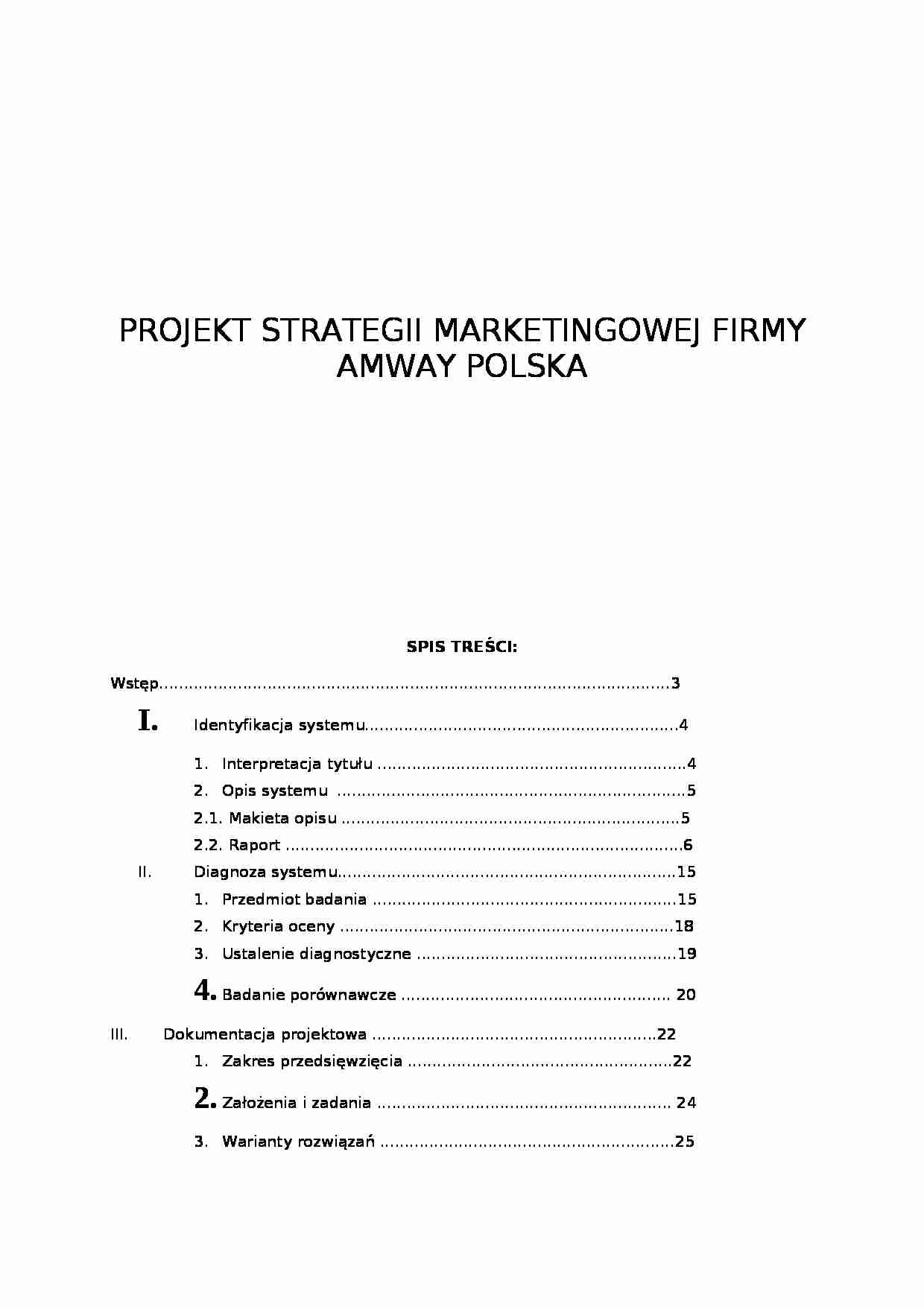 Projekt strategii marketingowej - strona 1