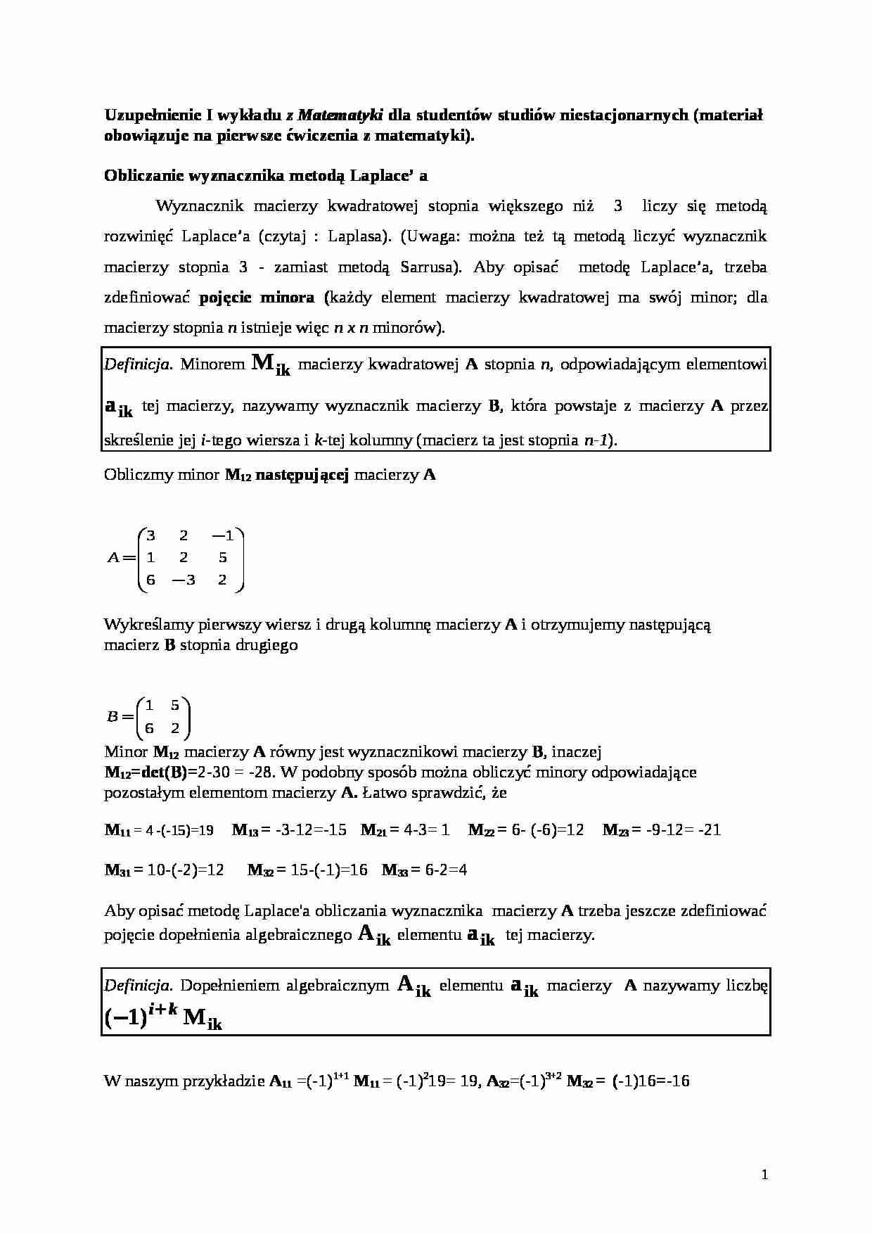 Uzupełnienie Wykładu 1 Z Matematyki Notatekpl