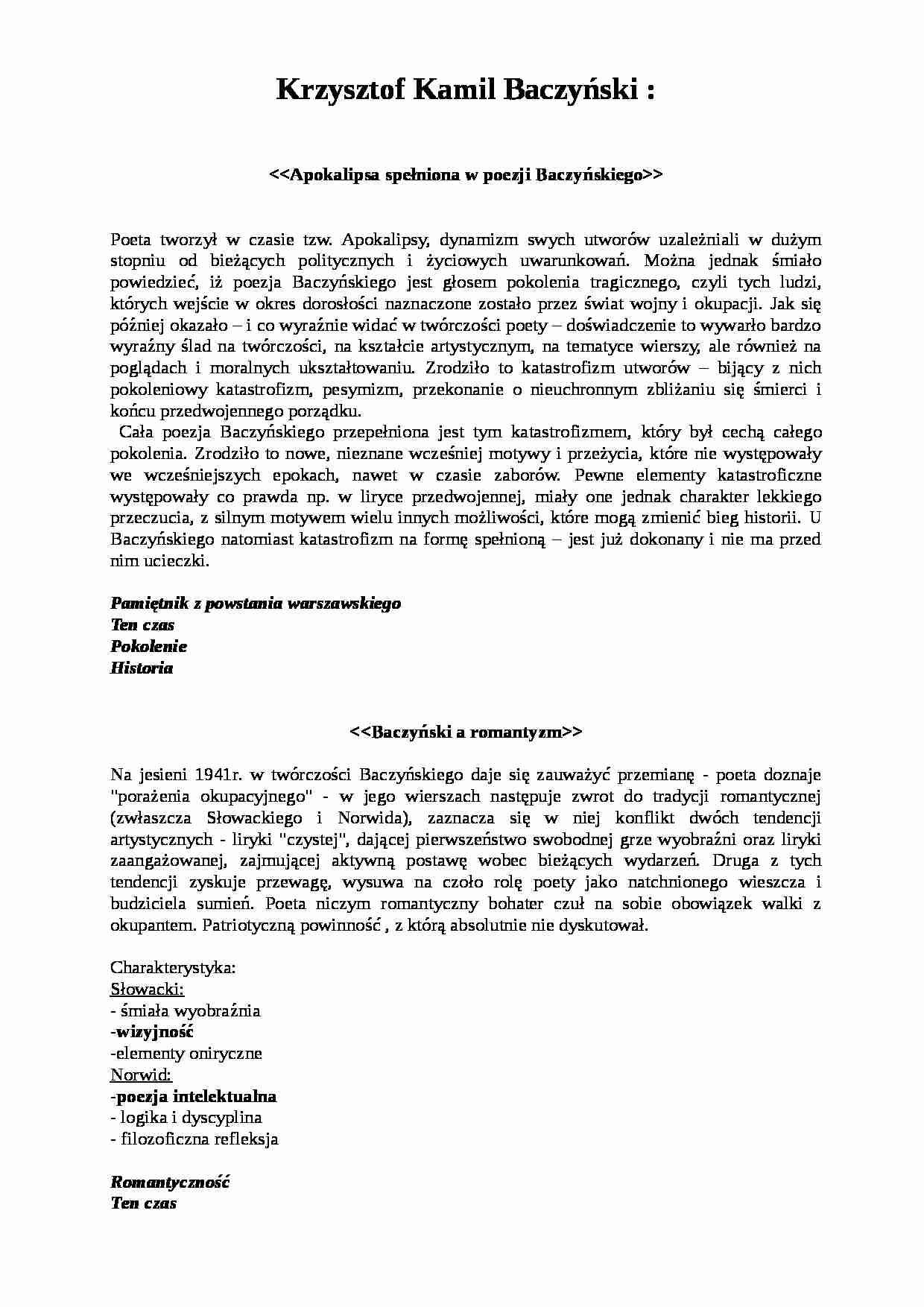 Krzysztof Kamil Baczyński Apokalipsa Notatekpl