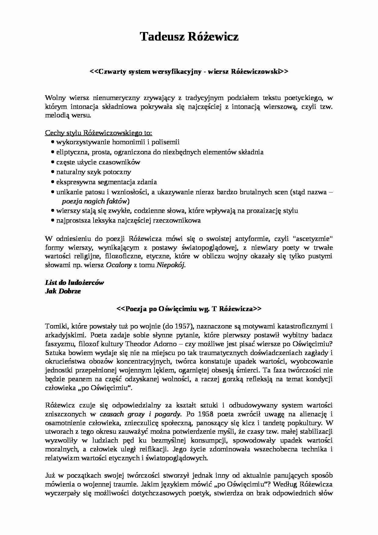 Tadeusz Różewicz Cechy Stylu Notatekpl