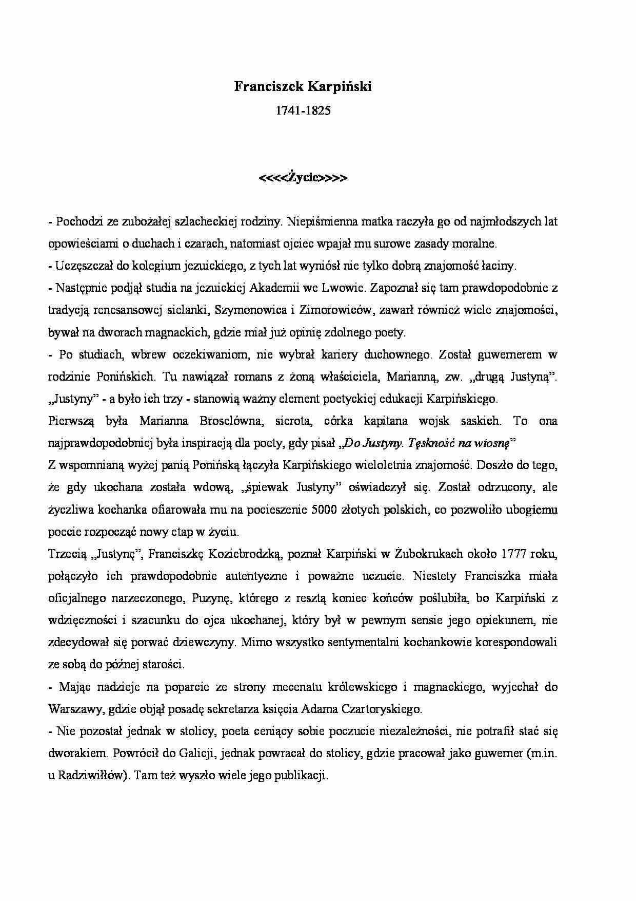Franciszek Karpiński życiorys Notatekpl
