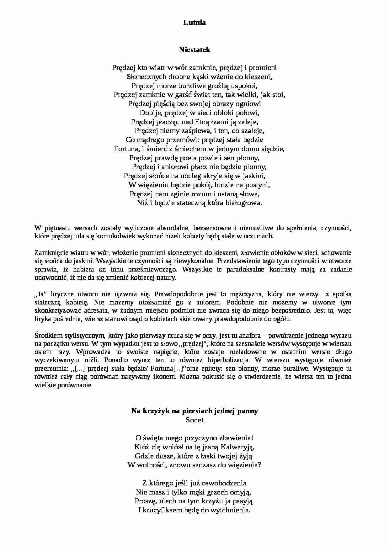 Jan Andrzej Morsztyn Lutnia Notatekpl