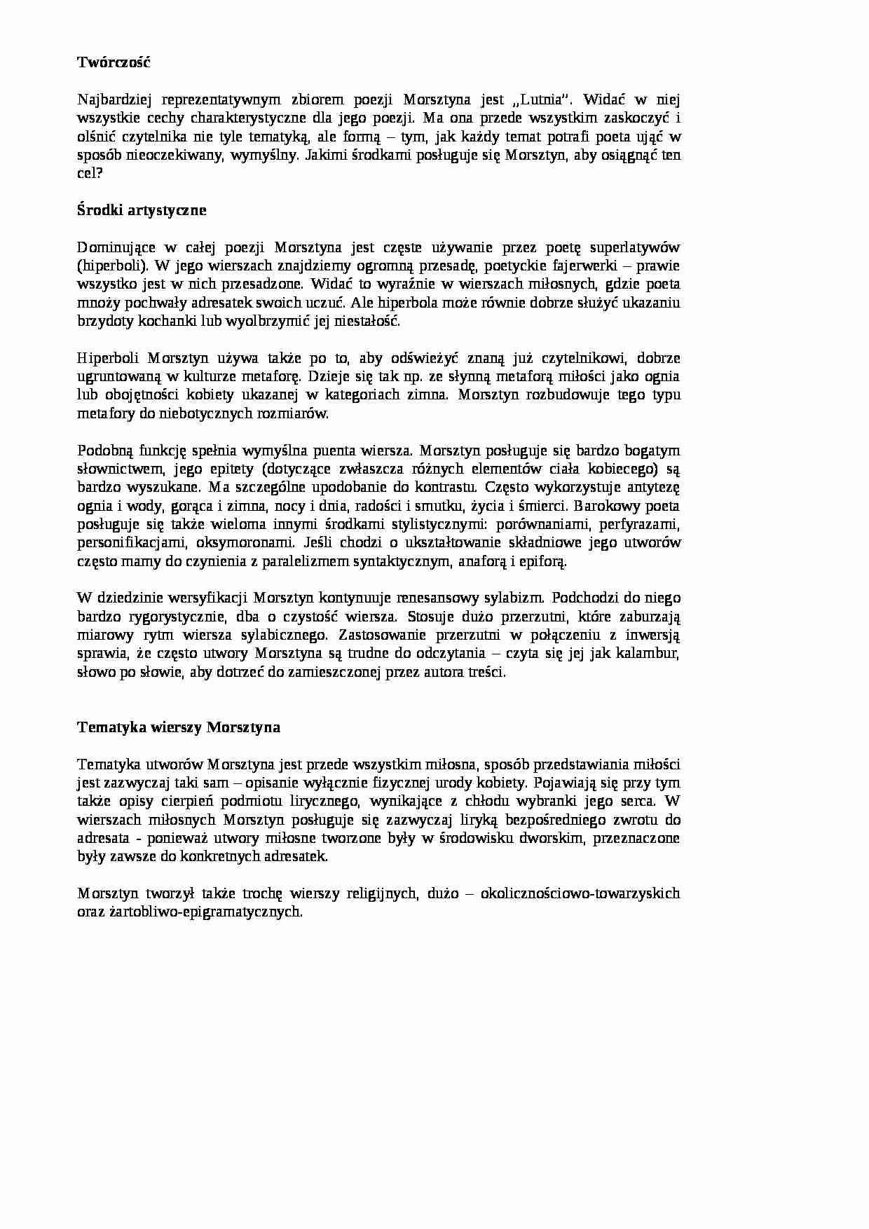 Jan Andrzej Morsztyn Twórczość Notatekpl