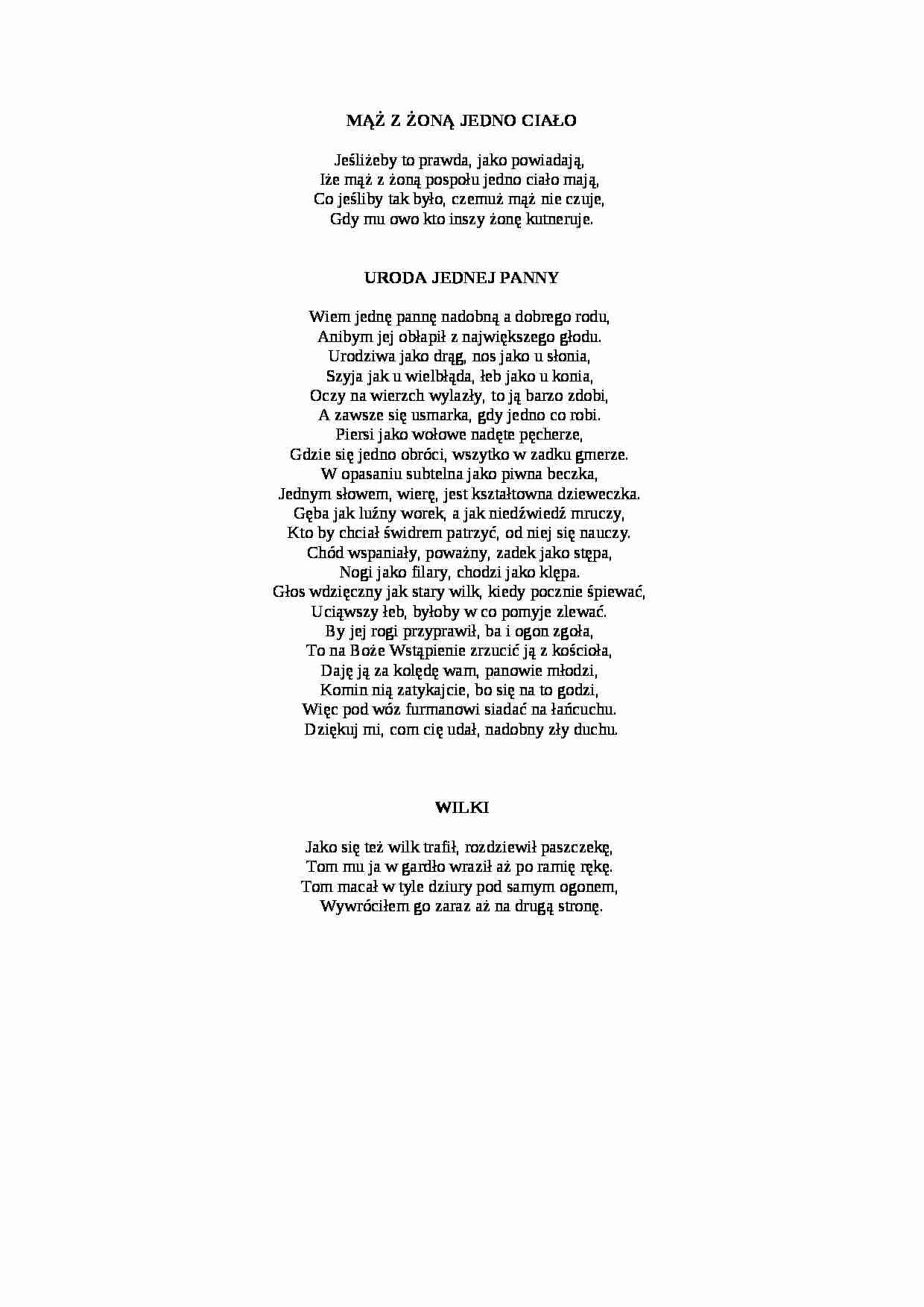 Satyra Wybrane Wiersze Notatekpl