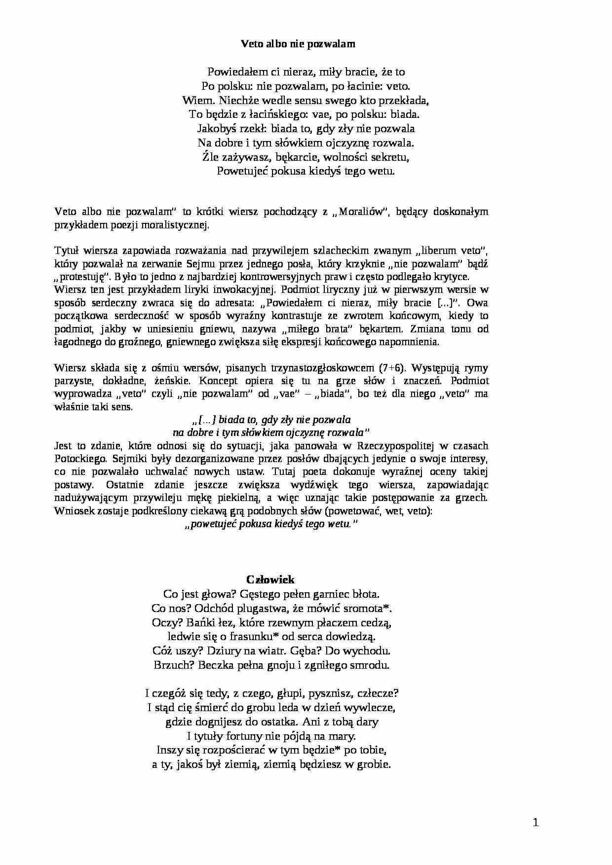 Wacław Potocki Wiersze Notatekpl