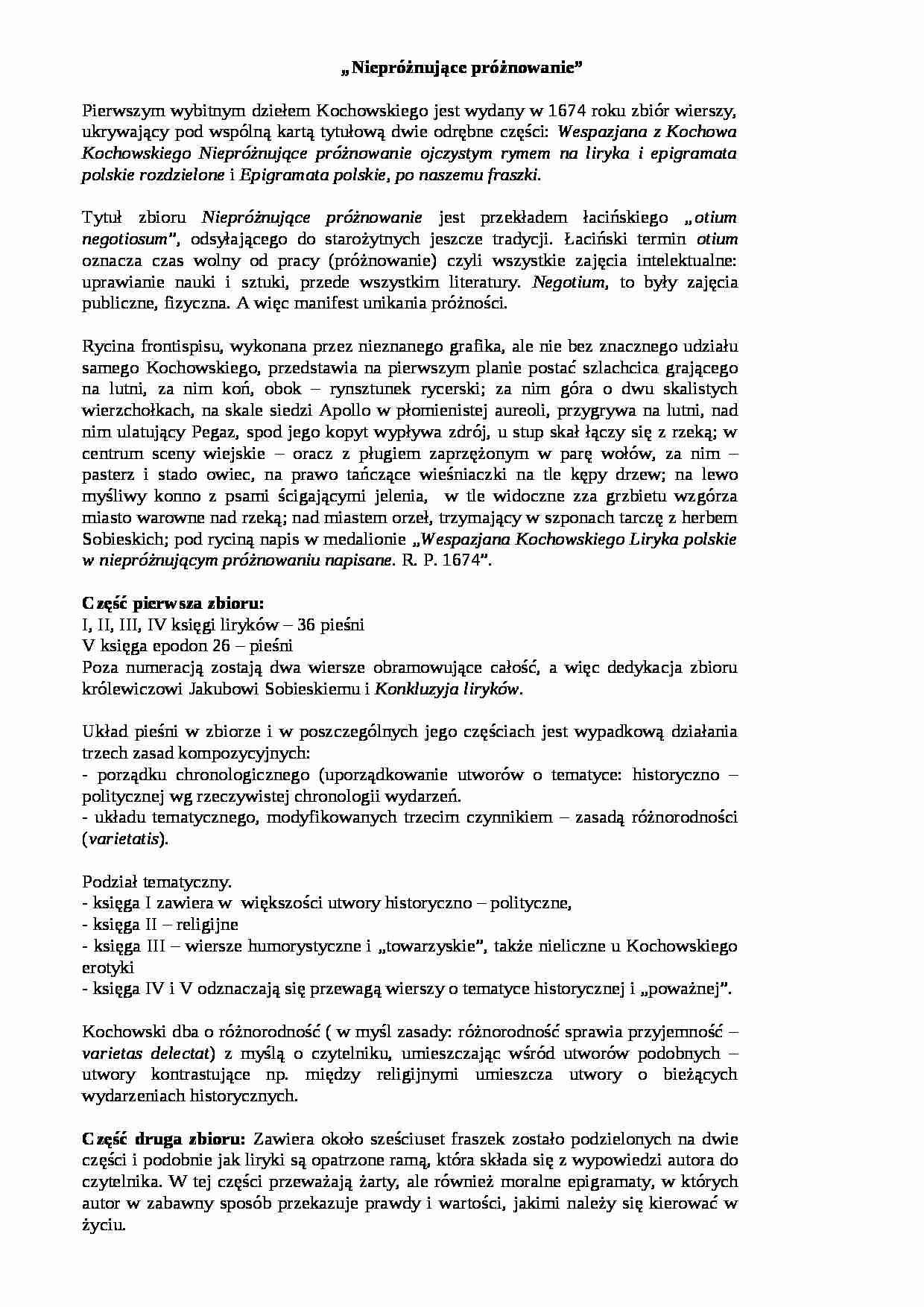 Wespazjan Kochowski Nieproznujace Proznowanie Budowa Notatek Pl