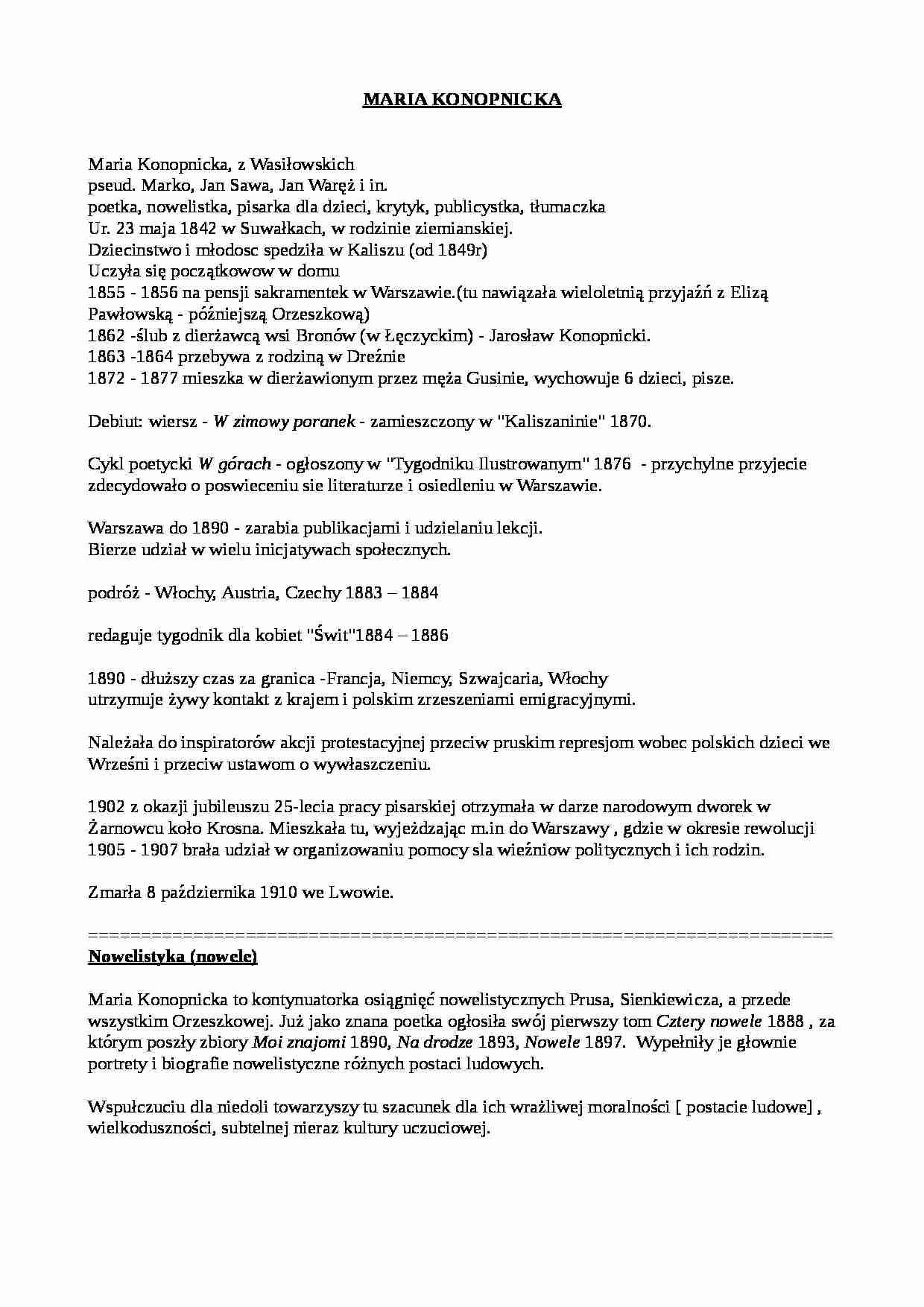 Pozytywizm Maria Konopnicka Klaudia Notatekpl