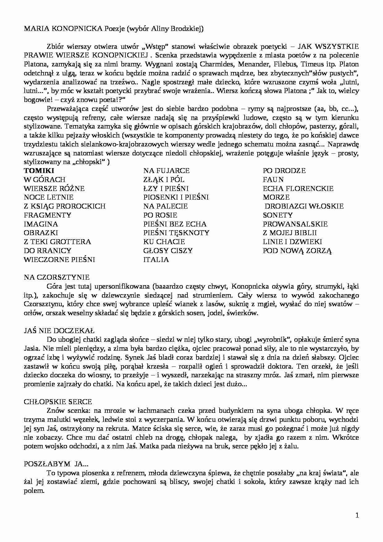 Maria Konopnicka Poezje Wiersze Wybrane Notatekpl