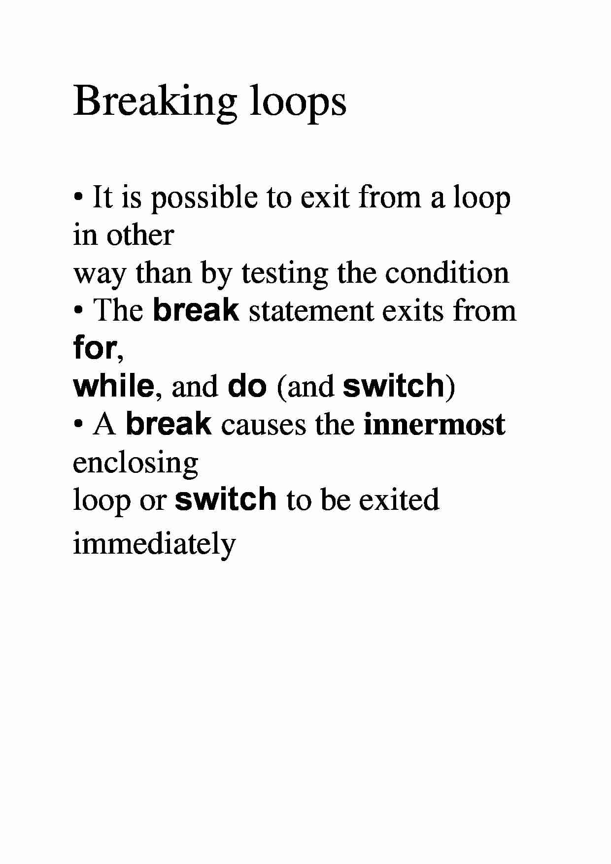 Breaking loops  - examples - strona 1