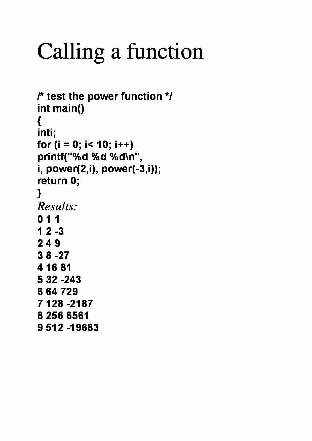 Calling a function  - examples - strona 1