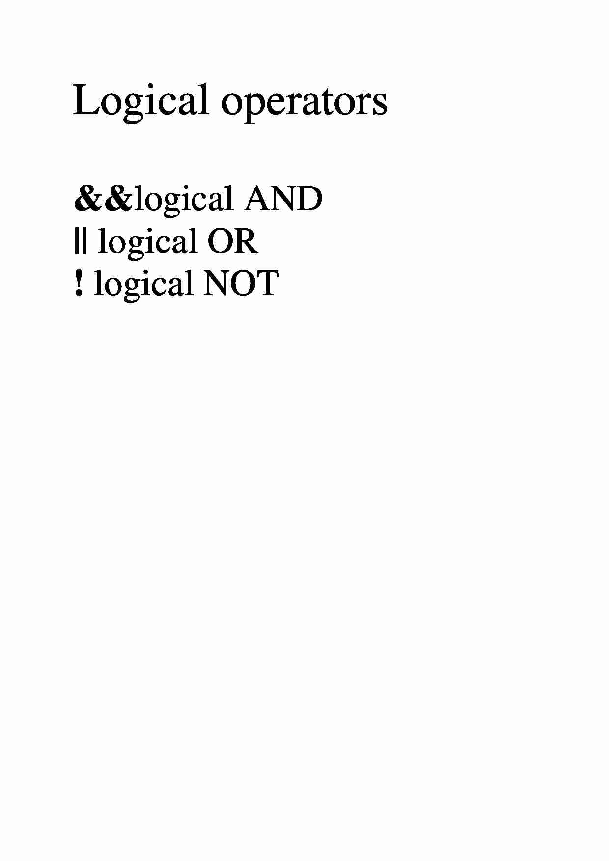 Logical operators  - overview - strona 1