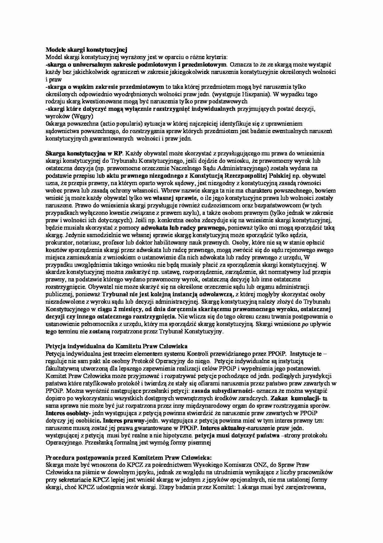 Wspaniały Modele skargi konstytucyjnej - Notatek.pl CC15