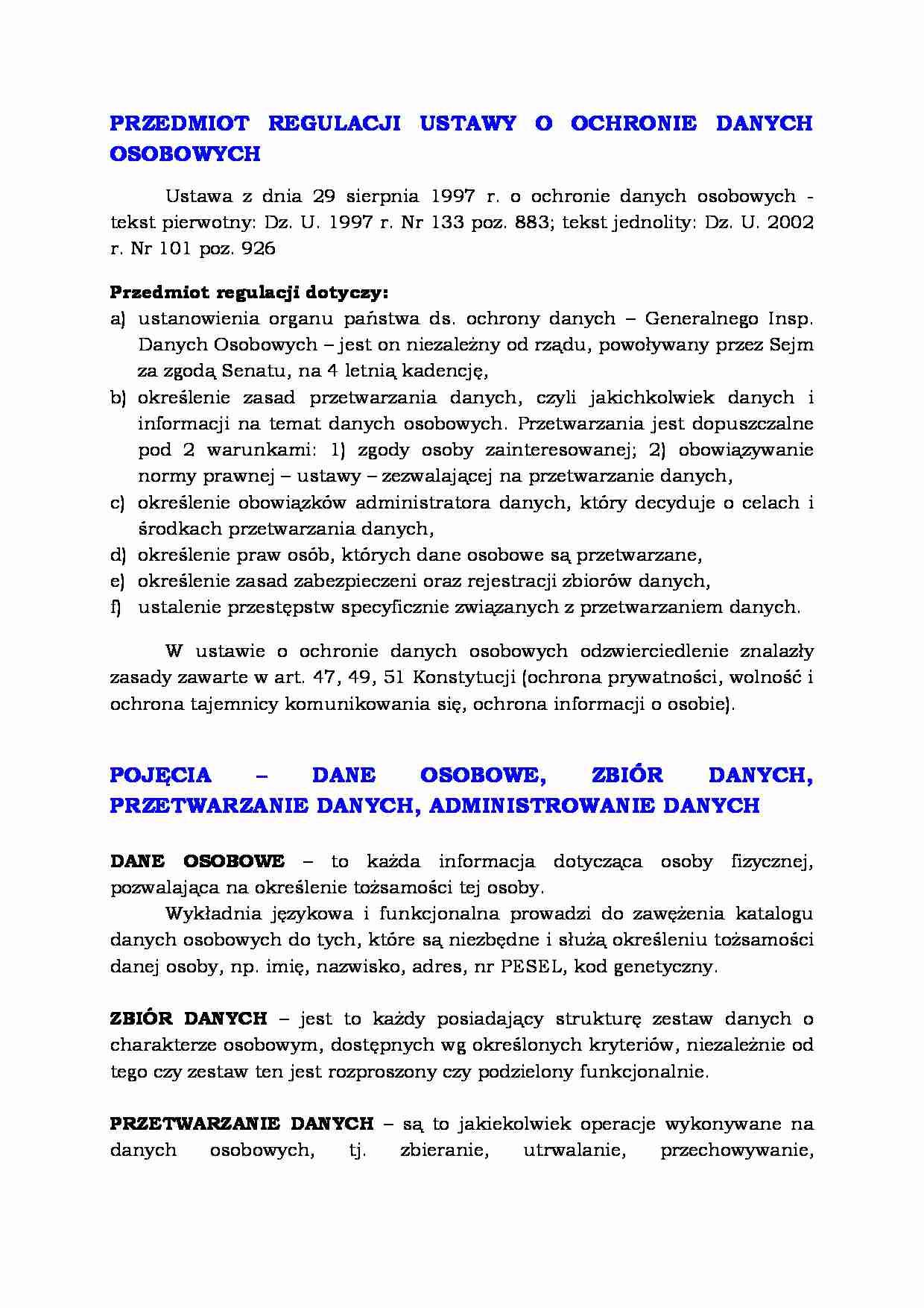 11f93dbcc5ede1 Podgląd dokumentu Ochrona danych osobowych - przedmiot regulacji - strona  ...