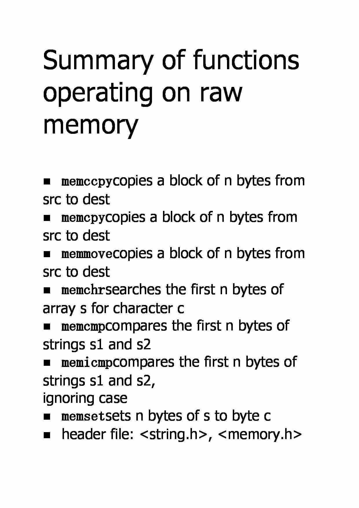 Summary of functions operating on raw memory - strona 1