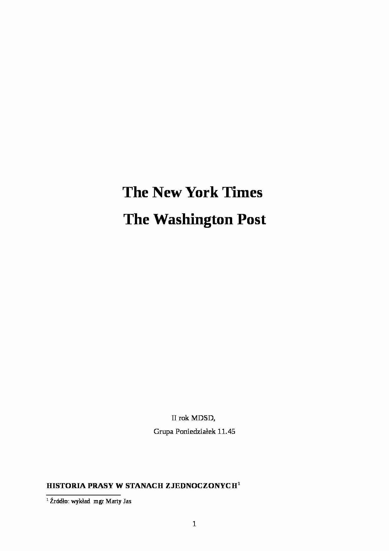 New York Times i Washington Post - strona 1