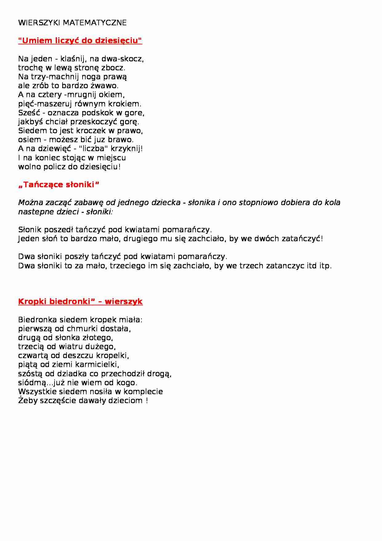 Wierszyki Matematyczne Notatekpl
