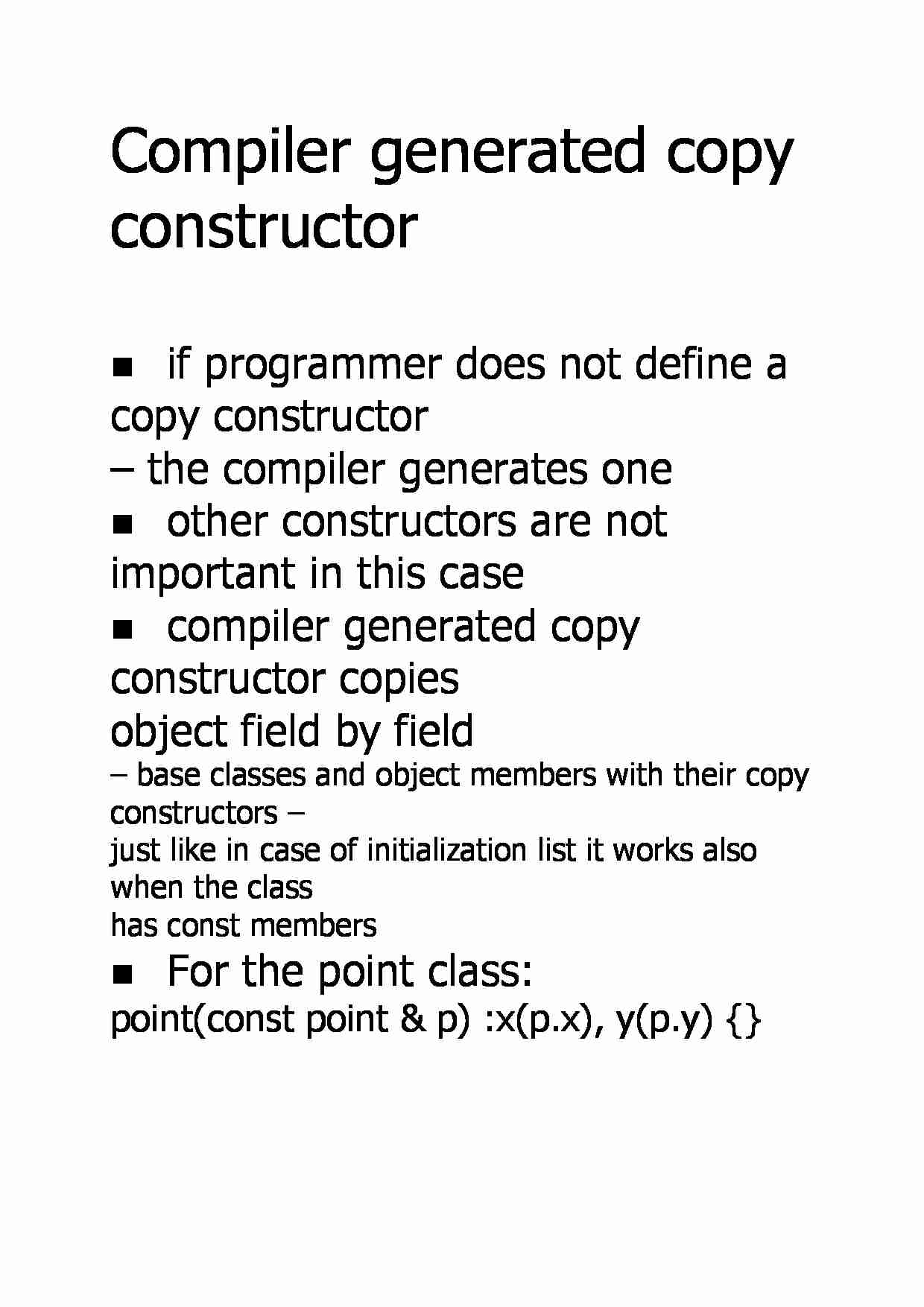 Compiler generated copy constructor - strona 1