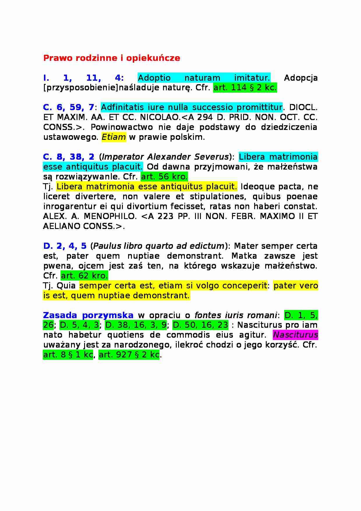 Sentencje Prawa Rodzinnego Notatekpl