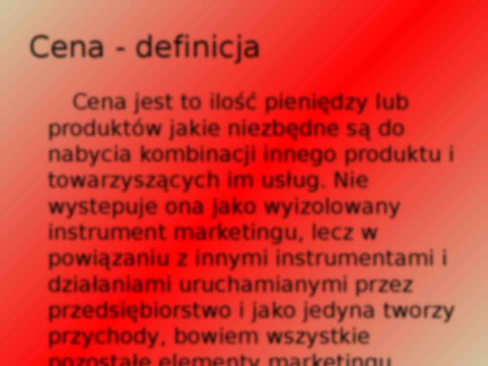 Cena w marketingu mix - wykład z marketingu - strona 2