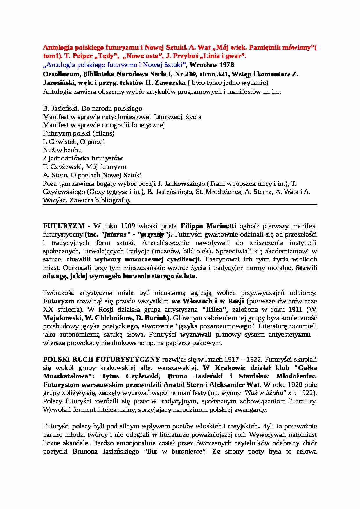 Antologia Polskiego Futuryzmu I Nowej Sztuki Futuryzm