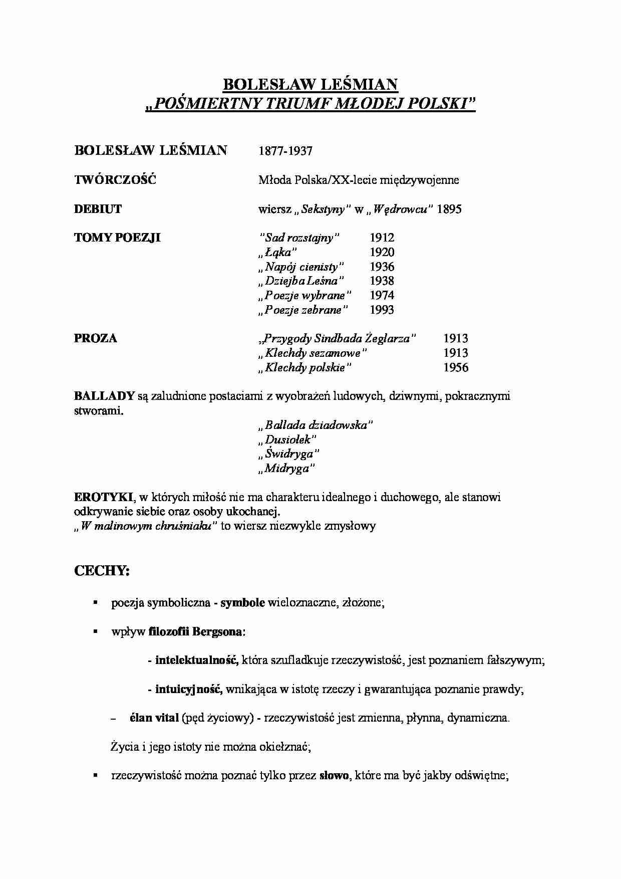 Bolesław Leśmian Pośmiertlny Triumf Młodej Poezji Notatekpl
