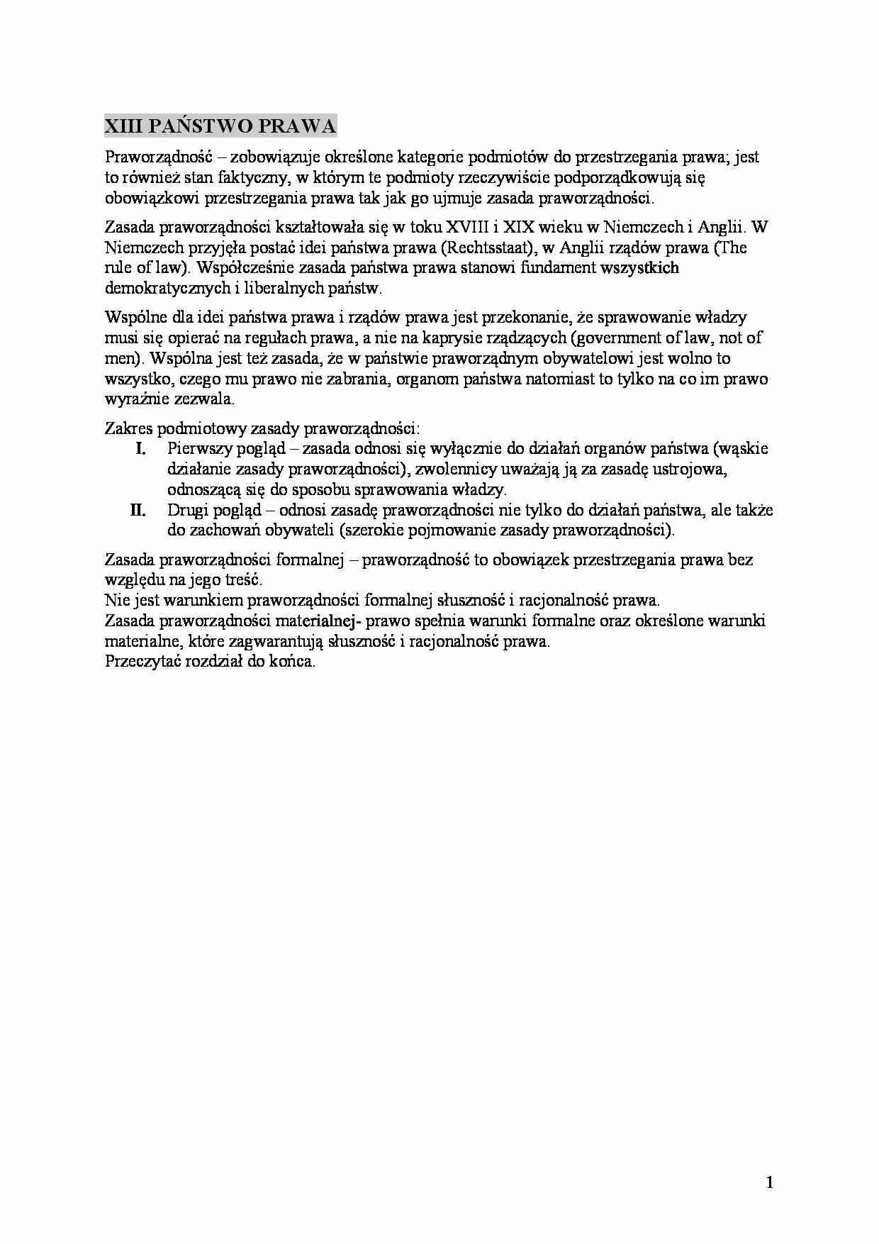 a38635f5355391 Fragment notatki: XIII PAŃSTWO PRAWA Praworządność ...