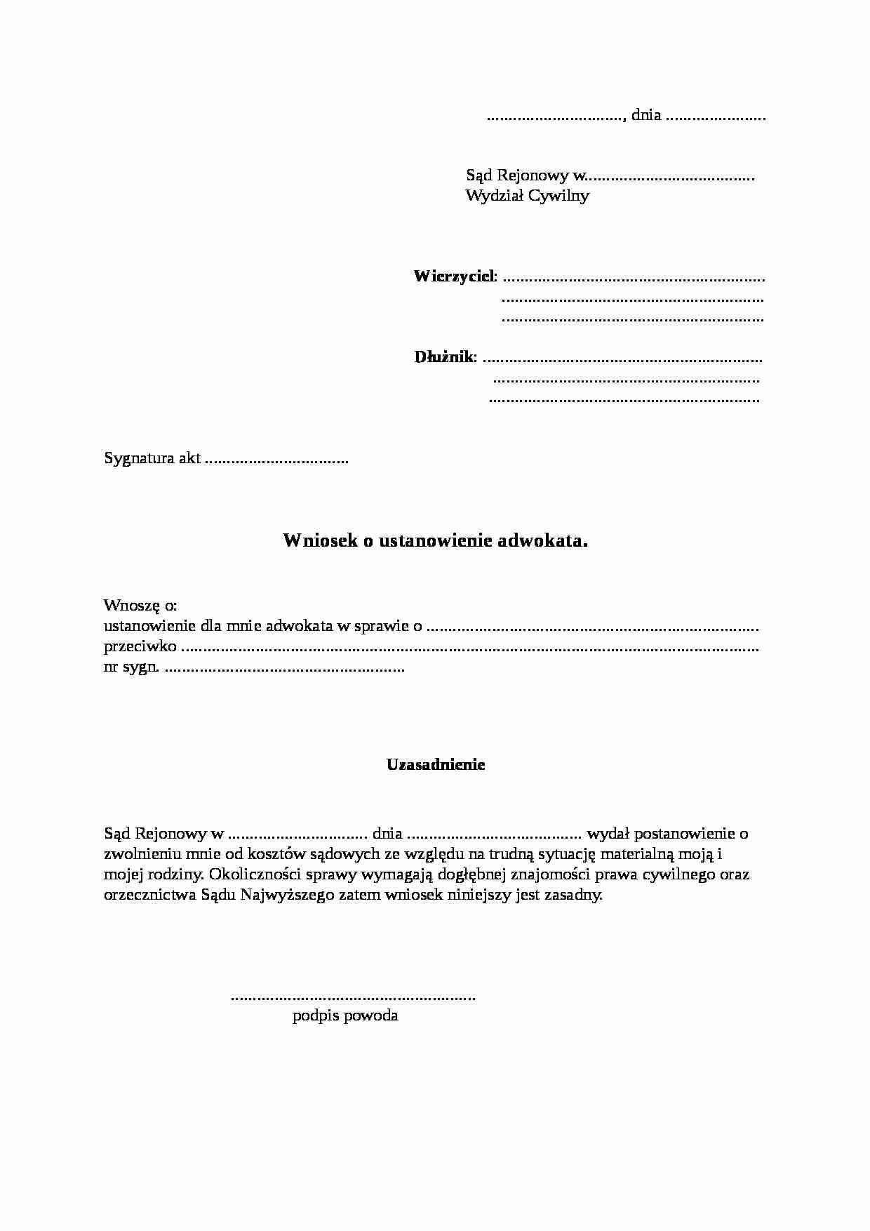 Bardzo dobryFantastyczny Wniosek o ustanowienie adwokata - Notatek.pl NJ09