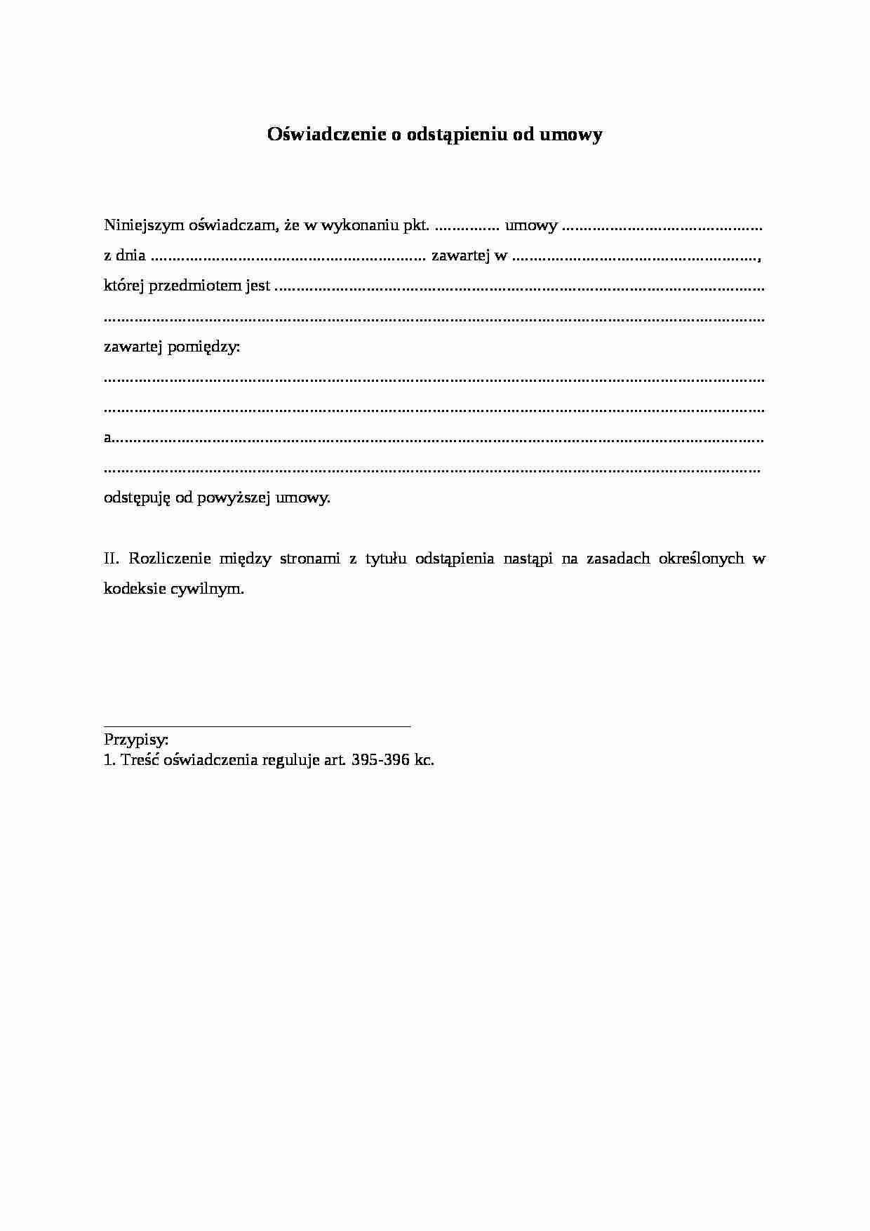 126a3446e4c611 Fragment notatki: Oświadczenie o odstąpieniu od umowy ...