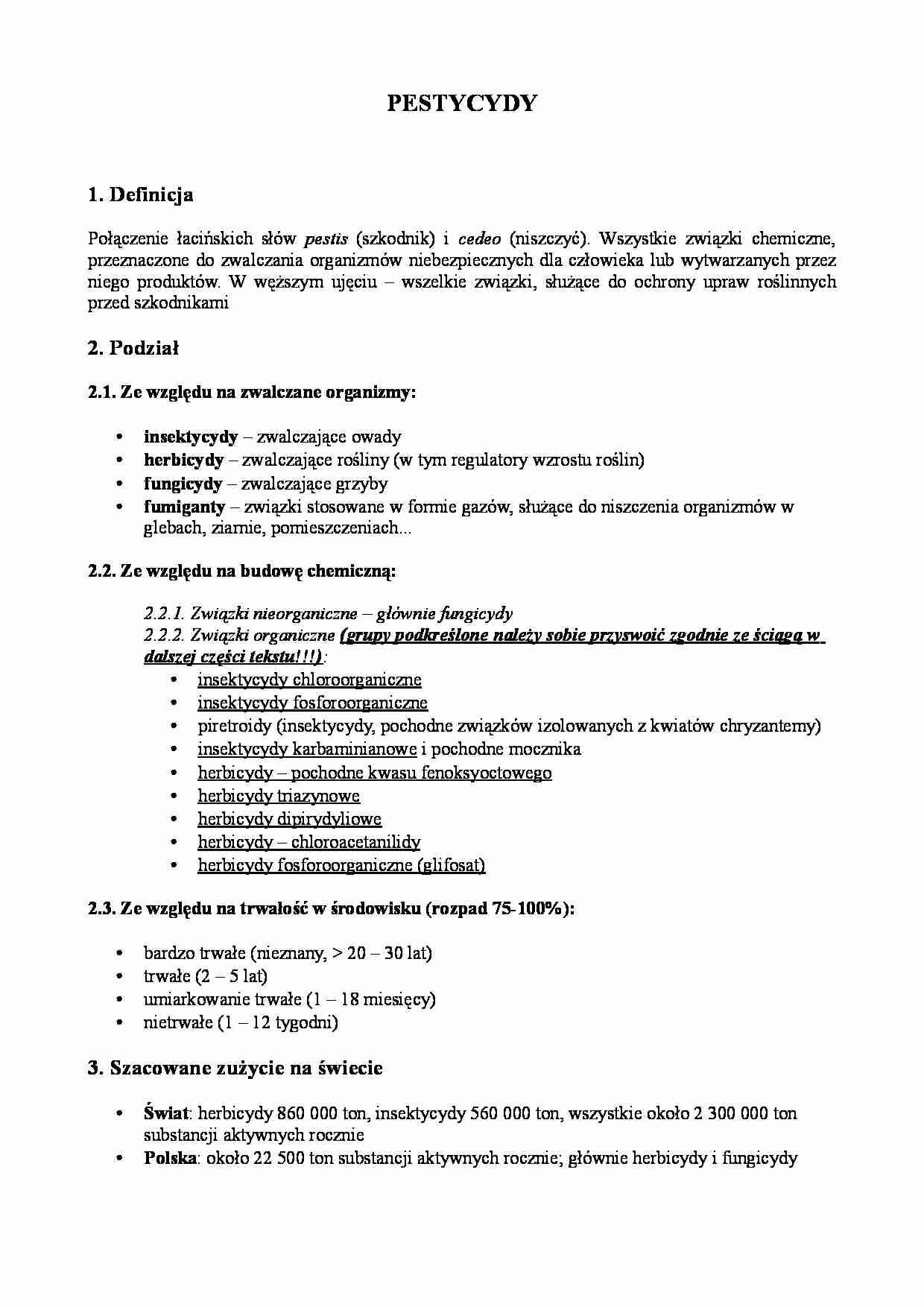 Pestycydy Definicja I Podział Notatekpl