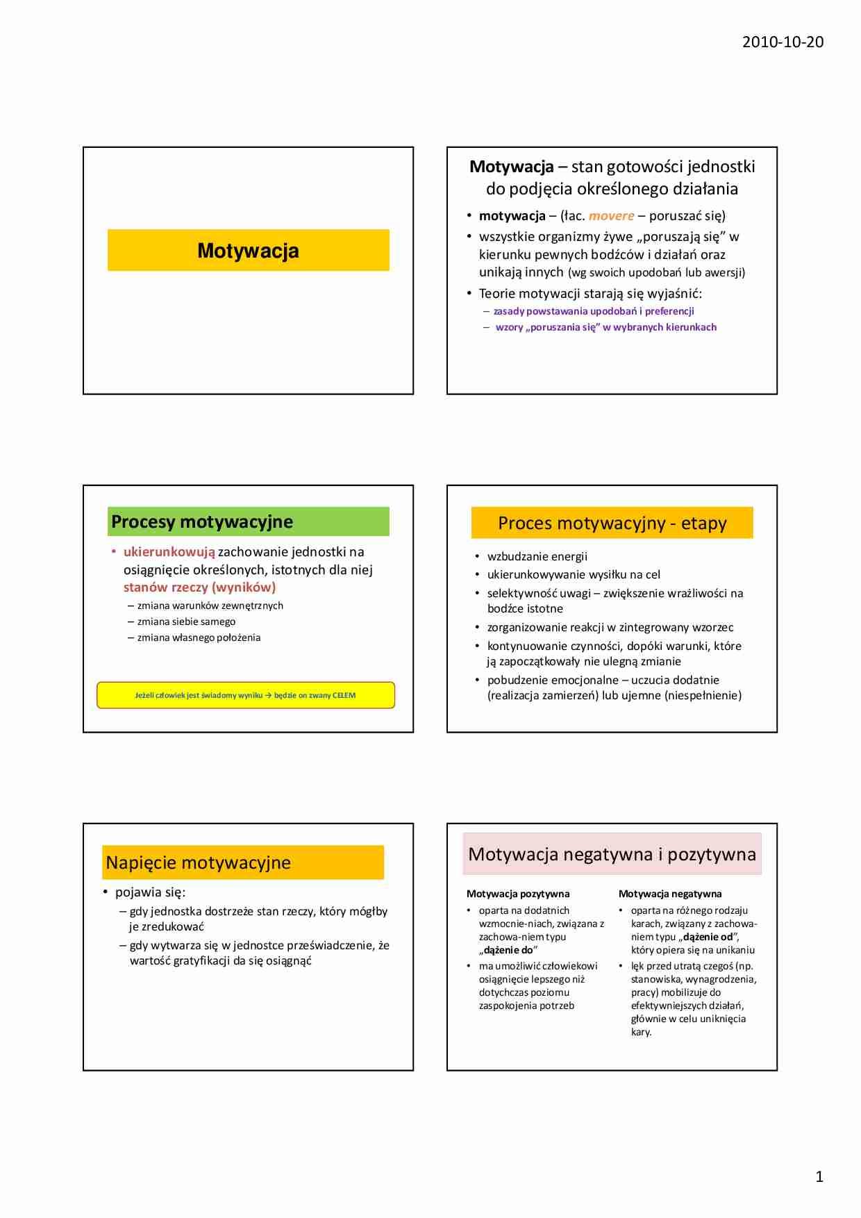 Podstawy Psychologii I Socjologii Motywacja Omówienie Sem1