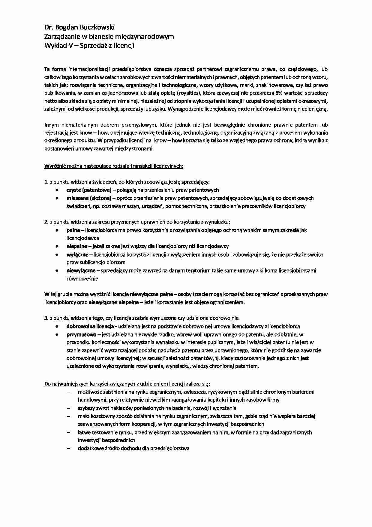 bfc126e57758d8 Podgląd dokumentu Sprzedaż licencji - wykład - strona 1 ...