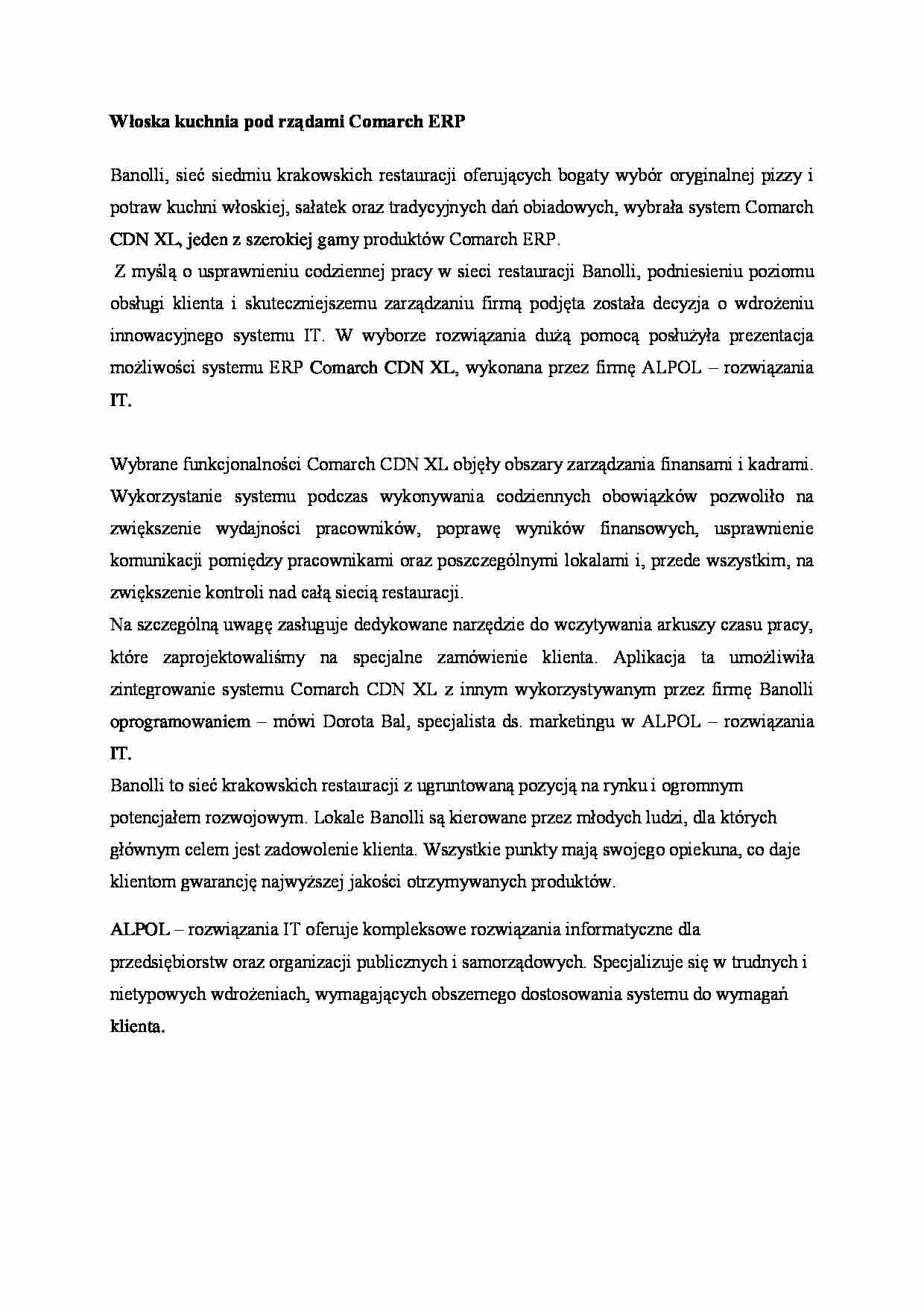 Wloska Kuchnia Pod Rzadami Comarch Erp Referat Notatek Pl