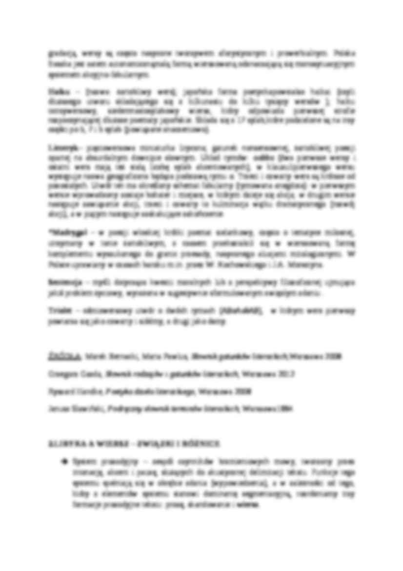 Definicje Wybranych Krótkich Gatunków Wierszowanych Liryka