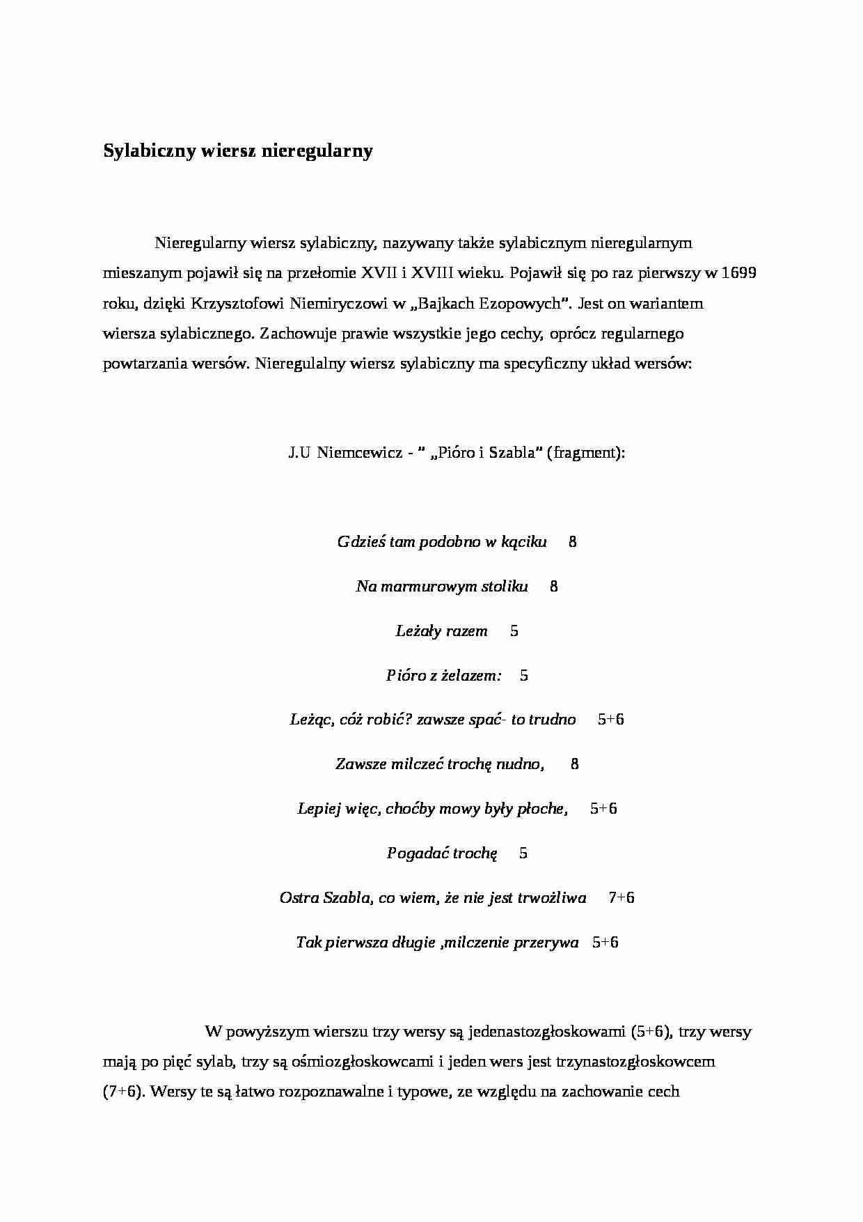 Sylabiczny Wiersz Nieregularny Formy Czasu I Przestrzeni W
