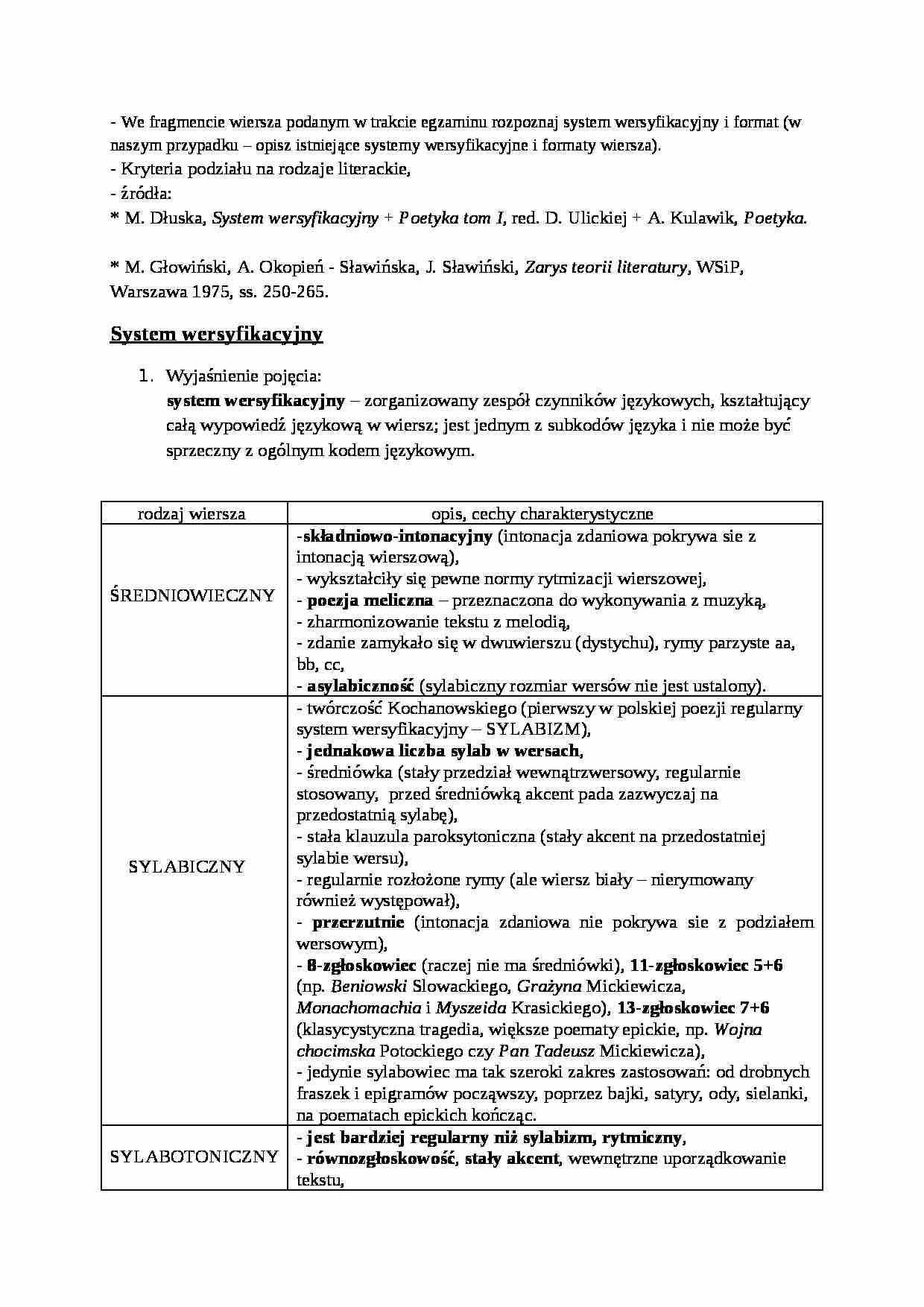 System Wersyfikacyjny I Format Rodzaje Literackie Notatekpl