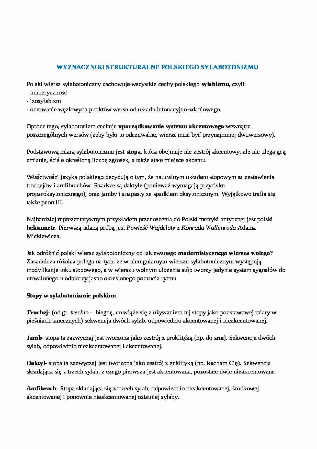 Wyznaczniki Strukturalne Polskiego Sylabotonizmu Czas W