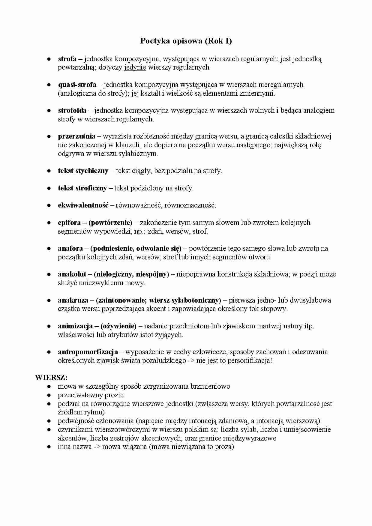 Poetyka Opisowa Notatekpl