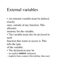 External variables - examples