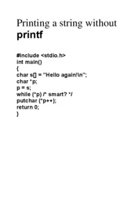 Printing a string without printf